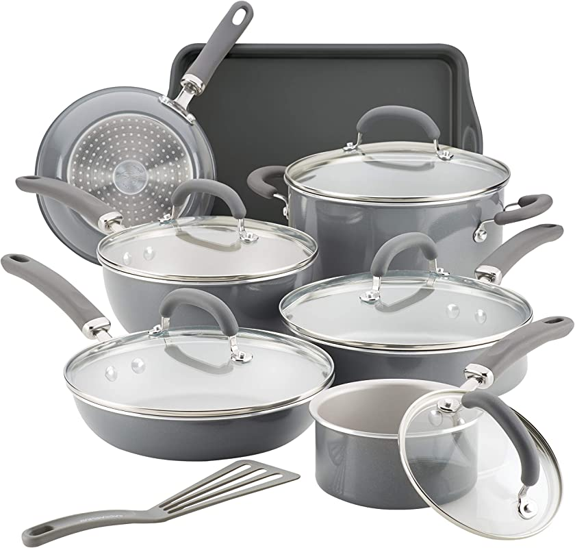 Rachael Ray 12148 13 Piece Aluminum Cookware Set Gray Shimmer