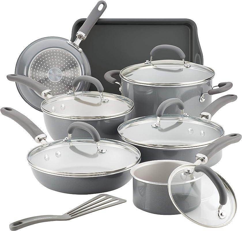 Rachael Ray 12148 13 Piece Aluminum Cookware Set Gray Shimmer