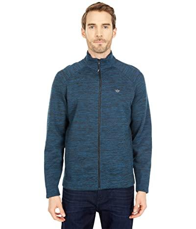 Dockers Full Zip Knit Sweater Jacket (Deep Dive Black Spacedye) Men