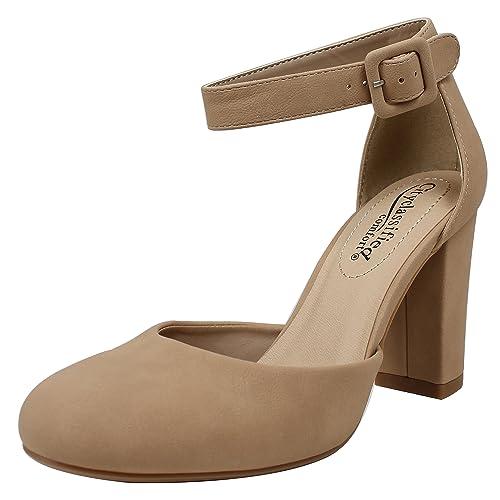 589f9cf93fc City Classified Women s Closed Toe Ankle Strap Block Heel