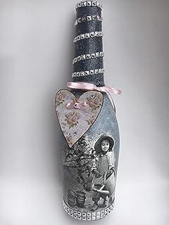 Botella decorativa con retrato vintage