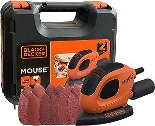 Black+Decker Driehoekige slijper Mouse (55 Watt, 133 x 95 mm, met stofzuigeradapter, voor slijpen/polijsten, klittenbandfi...