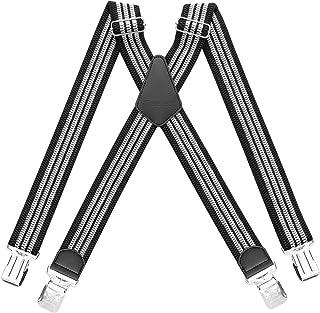 HBselect Bretelle Uomo con 4 Clip Bretelle Uomo Elastiche Accessori da Uomo Eleganti Bretelle Righe Vintage Adatto per Uom...