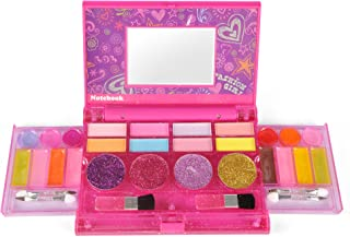 Liberty Imports Princess Girls All-in-One Deluxe Cosmetics Play Set - Palette Vanity with Mirror - Washable and Non Toxic Makeup Kit - Ideal Gift for Kids (Compact)