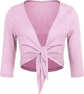 Women's Tie Front Shrug Cropped Bolero 3/4 Sleeve Open Cardigans Plus Size S-XXL