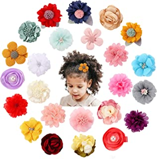 Cinaci 24 Pack Handmade Colourful Floral Flower Bow Fully Lined Duckbill Alligator Hair Clips Barrettes Accessories for Ba...