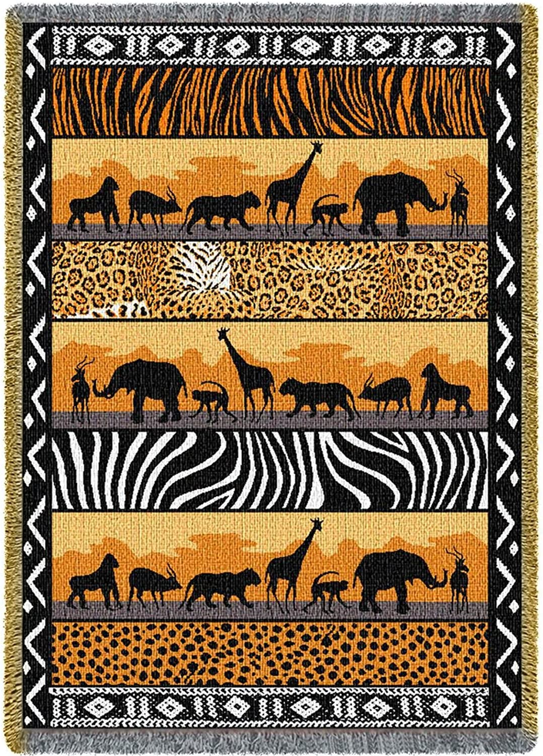 Pure Country Weavers in The Wild African Safari Decor Woven Throw Blanket with Fringe by Artisan Textile Mill USA Made Size 70x50 Cotton Woven to Last a Lifetime