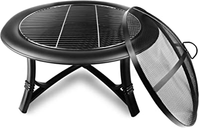 Soldadito Fire Pit Outdoor Bowl Round Steel for Burning Charcoal Wood Firepit with Mesh Spark Screen Cover and Fireplace Poker Grate Grill Chimenea for Garden Patio Camping