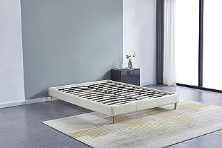 Lit futon Double avec sommier et Pieds Bois, revêtement en Tissu Blanc (140_x_190_cm)