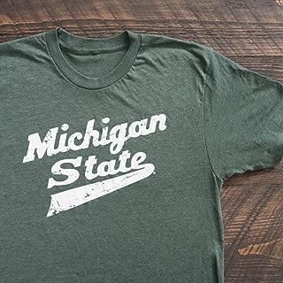Nudge Printing Michigan State Spartans MSU Hockey Script Logo T-Shirt - Green - Made in East Lansing, Michigan USA