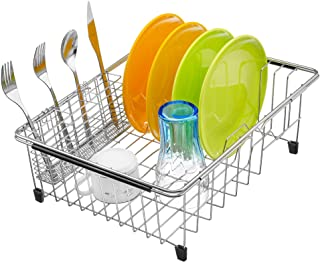 iPEGTOP Expandable Deep Large Dish Drying Rack and Utensil Cutlery Holder, Rustproof Stainless Steel Over Sink Dish Rack B...