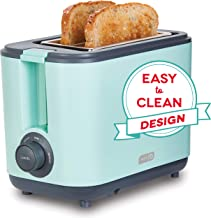 Dash DEZT001AQ 2 Slice Extra Wide Slot Easy Toaster with Cool Touch + Defrost Feature, for Bagels, Specialty Breads & other Baked Goods, Aqua