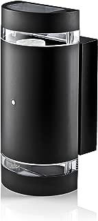 Hyperikon LED Porch Sconce Light, 12W Cylinder, Modern Outdoor Wall Lamp, 4000K Daylight, Black, Photocell, UL