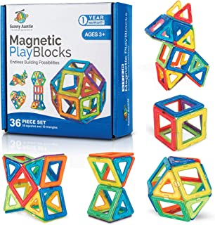 Magnetic Blocks Magnetic Building Tiles Set for 3 4 5 6 7 8 Year Old Kids and Toddlers - Boys and Girls Preschool Creative Construction Kit STEM Educational Toy Gift for 3-8 Year Old, 36 pcs Gift Box