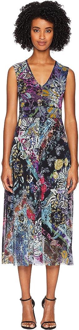 V-Neck Flower Patch Dress