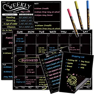 Magnetic Chalkboard Monthly Calendar - Weekly Planner Blackboard Combo Set w/Neon Bright Liquid Chalk Markers - Bonus Groc...