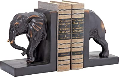 Design Toscano Elephant Bookends Statue, 7 Inch, Set of Two, Faux Bronze,QM2859800