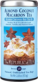 The Republic of Tea Almond Coconut Macaroon Red Rooibos Herbal Tea, 36 Tea Bag Tin