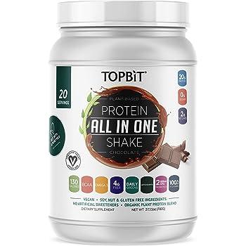 TOPBiT All-in-One Plant Protein Powder, Chocolate – Vegan Protein Powder, Sugar Free Protein, Stevia Free, Nut Free, Soy Free, 20g Protein Shake, Probiotics, BCAA, Greens, 1.8LB