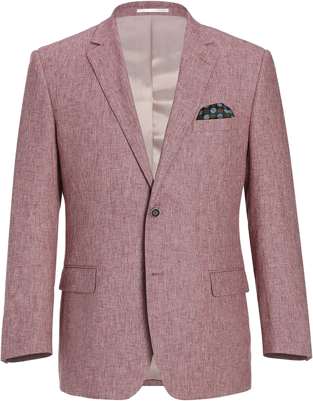 CHAMA Mens Classic Fit Linen Blazer Suit Casual Sports Coat Jacket