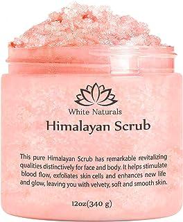خالص Himalayan Pink Salt Body Scrub 12oz با Naturals سفید: اسکراب عصاره طبیعی طبیعی بدن با ویتامین های تغذیه کننده، پوست نرم و نرم کننده پوست، ماساژ اسکراب برای عضله درد