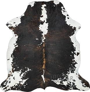 Dark Brown Brindle Cowhide Rug, Premium Quality Natural Leather Hide, Area Rug (6x7ft)