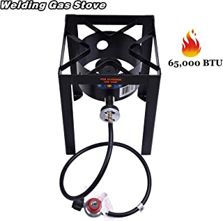 ARC USA, 65000 BTU Outdoor Propane Burner, High Pressure Cast Iron Single Burner with Portable Stand, Gas Stove Camping Stove with Hose & CSA Regulator, Welded Steel Frame, Perfect for Outdoor Cooking