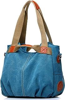 NOTAG Segeltuch Handtasche Damen, Lässige Vintage Hobo Leinwand Multi-Pocket täglich Geldbörse,Tote Shopper Handtasche Umhängetasche Einkauftasche