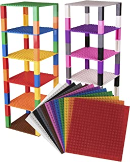 """Classic Baseplates 6"""" x 6"""" Brik Tower by Strictly Briks   Compatible with Major Brands   12 Colors"""