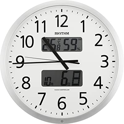 リズム(RHYTHM) RHYTHM 電波 掛け時計 プログラムカレンダー 403SR シルバーメタリック 色 4FN403SR19