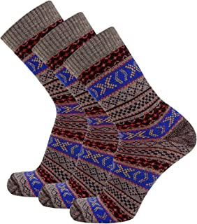 Boho Merino Wool Hiking Socks – Crew Outdoor Moisture Wicking Performance Socks, Anti-Microbial, Cushioned