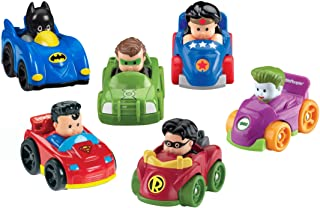 Fisher-Price Little People DC Super Friends, Set de regalo de juguetes con ruedas (pack de 6) (Exclusivo de Amazon)
