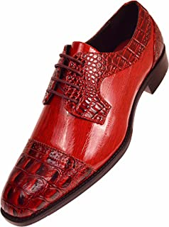 The Original Mens Exotic Faux EEL Skin Print with Synthetic Croco Cap Toe Oxford Dress Shoe Style Dallas
