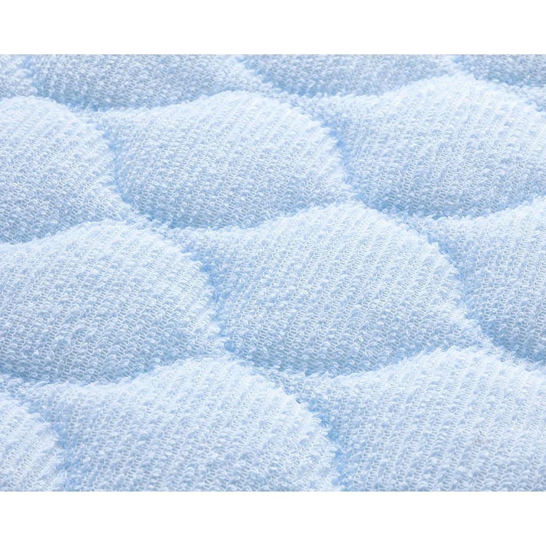 カニ葉を集めることわざセシール 敷きパッド ブルー セミダブル 綿100% ニットパイル 中わた入りのキルト タオル素材 CZ-771