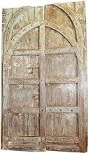 Mogul Interior Solid Wood Antique Door Distressed Green Brown Hand Carved Haveli Double Doors Hotel Design