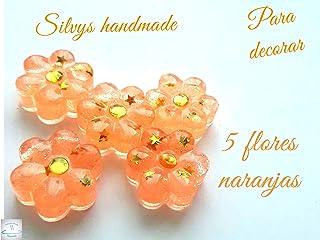 Pequeñas figuras de resina flores naranjas Silvys handmade