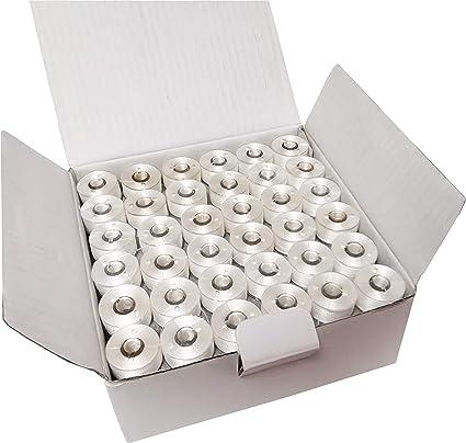 Full Box Madeira Underthread Prewound Bobbins 144 x Cardboard Sided Bobbins for Most Domestic Sewing Machines Size L White 144 bobbins x 120m