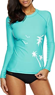 Attraco Women Rash Guard Long Sleeve Swimming Suit UPF50+ Vest Swim Top UV Swimwear