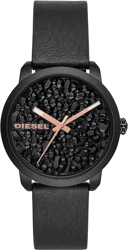 Diesel orologio da donna con cinturino in vera pelle e cassa in acciaio inossidabile DZ5598