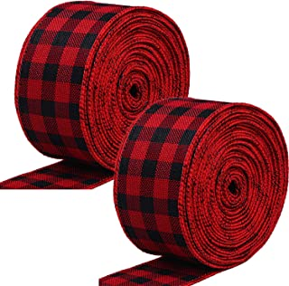 2 Rolls 2.5 Inch Wide Christmas Ribbon Red and Black Plaid Wired Ribbon Christmas Wrapping Crafts Ribbon for Gift Wrapping Supplies, 472 Inch Long Total