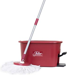 Fuller Brush Spin Mop Exclusive Bucket System - Easy Wring, 360° Spin - Streak Free Floor Cleaning - 1 Microfiber Mop Head - Ruby Red