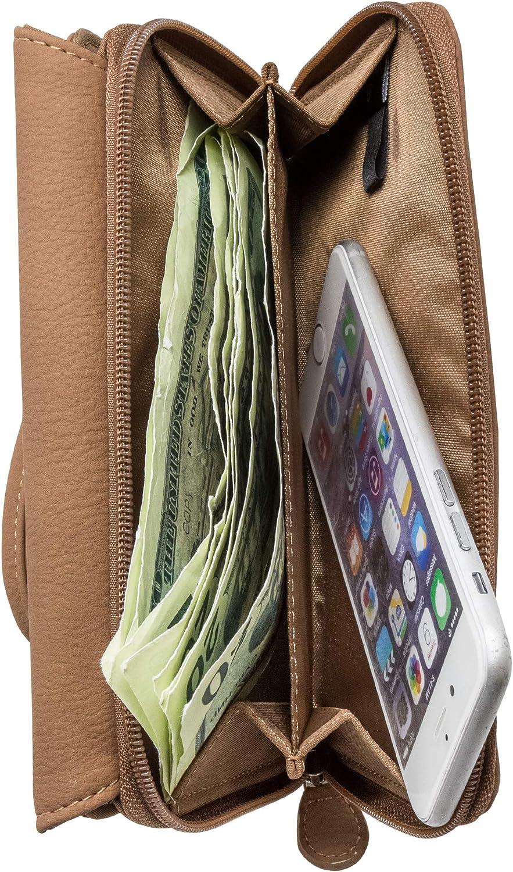 Mundi Big Fat Womens RFID Blocking Wallet Clutch Organizer Removable Wristlet (Brown Sugar)