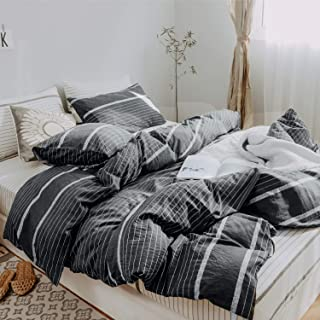 Utridevn 3 Pieces Cotton Duvet Cover Set,Striped Pattern Print,100% Natural Cotton Bedding with Zipper Closure,Soft and Comfy(King, Gray Stripe)