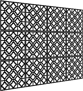Kernorv Hanging Room Divider Decorative Screen Panels Made of PVC Room Divider Panels for Living Room Bedroom Office Restaurant (Black, 12 PCS)