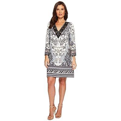 Hale Bob Simply Irresistible Matte Microfiber Jersey Dress w/ Beads (Beige) Women
