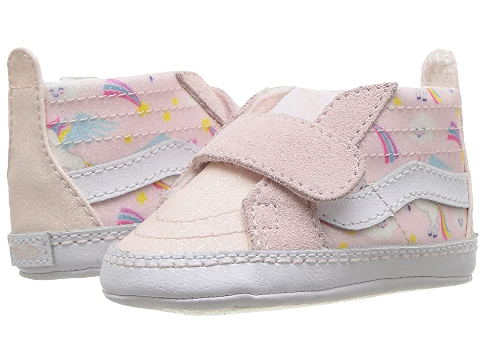 Vans Kids SK8-Hi Crib (Infant/Toddler) ((Glitter Pegasus) Heavenly Pink/True White) Girls Shoes