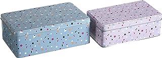 Premier Housewares Kitchen Storage Tin, Rectangular, Multi-Colour, Set of 2 - Stellar