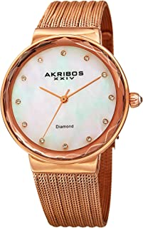 Akribos XXIV Women's Quartz Diamond & Mother-of-Pearl Rose-Tone Fine Mesh Bracelet Watch - AK1009RG