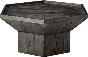 "Amazon Brand – Rivet Geometric Elm Wood Coffee Table, 43""W, Dark Grey Finish"