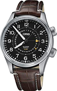 Oris Aviation Analogue Men's Watch (Black Dial Brown Colored Strap)
